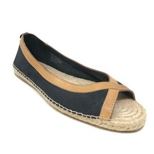 Tommy Bahama Espadrille Flats Black Brown Size 11